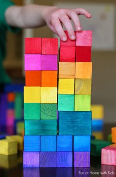 DIY Dyed Rainbow Wooden Blocks - could be really cute for kids birthday or baby shower