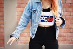 90's tomboy grunge denim outfit