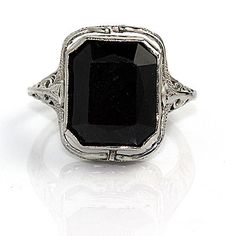 Antique 18 Kt White Gold Brown Topaz and Onyx Flip Engagement Ring Circa 1900's
