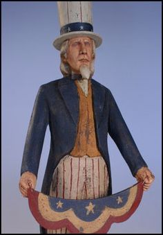 Swag Sam-patriotic, americana, uncle, sam, wood, hand, carved, Ed Pribyl, primitive, collectible