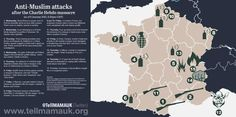 Attacks on French Muslims since Charlie Hebdo. Map via Tell MAMA UK from January 6 to January 10. Tell MAMA UK is a respected British anti-Islamophobia group.