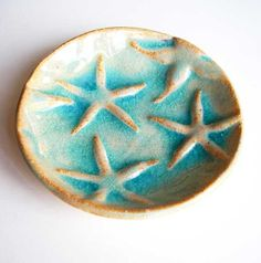 starfish fossil soap dish trinket treasure aqua by firecat