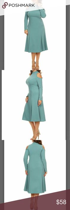 COMING SOON! 😍PLUS Sexy Cold Shoulder Dress Sz 1X Simple, chic, stunning and sexy.  You will be dressed to impress in this light blue figure enhancing dress from Bella berry.  A pretty shade of light blue. Available in 1x.  See pic 4 for sizing. 47in long.  96%polyester, 4%spandex .  Fabric has stretch.  Imported.  Machine wash, hang to dry. Dresses Midi
