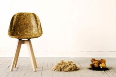 Artichair (Spyros Kizis, 2013): a bucket chair made from artichoke thistle and a biological resin abstracted from used cooking oil performs.
