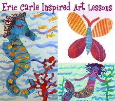 Eric carle inspired art lessons...I've done this type of project w some of my classes.  We did a classroom version of brown bear, brown bear!  The whole book was collaborative!