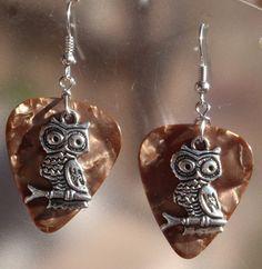 Owl Guitar Pick Earrings- Your Choice Color. $6.00, via Etsy.