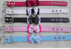 "Amazon.com: Bella's Leather Dog Collar with Polka Dot Bow, Blue - Small 14.5"" x .75"": Pet Supplies"