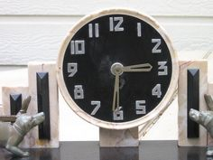 Marble 1920's Art Deco Puppy Clock With Garnitures | Collectors Weekly
