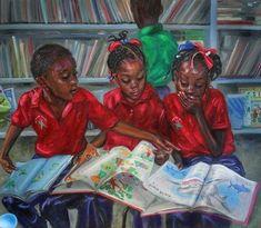 Library by Jonathan Guy-Gladding JAG Black Love Art, Black Girl Art, Art Girl, Black Art Painting, Black Artwork, Jamaican Art, African American Artwork, Library Art, Caribbean Art