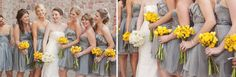 Love the grey bridesmaids dresses with yellow flowers