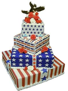 4th of July Wedding Cake!