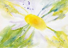 Daisy   watercolor painting original  by PaintingsbySimon on Etsy