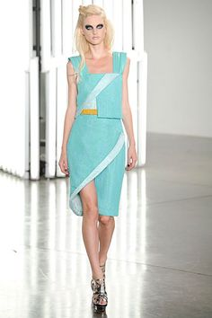 aqua at Rodarte, love these lines. her makeup, not so much.