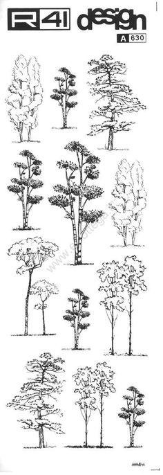 trasferibilir41 Alberi in alzato, NERO. Trasferelli-Trasferibili R41 in fogli 9x25cm. p. 341 .