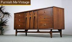 brasilia by broyhill   Vintage Broyhill Brasilia Triple Dresser   Furnish Me Vintage