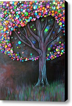 Button Tree 0006 Stretched Canvas Print / Canvas Art By Monica Furlow This is so cool!