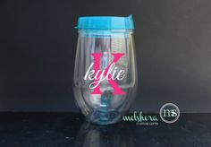 Aqua Stemless Acrylic Wine Glass  Custom Personalized by Melshera