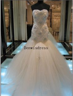 Mermaid+Sweetheart+Sleeveless+Cathedral+Train+White+by+Denwisdress,+$369.00