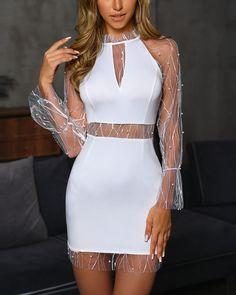 Beaded Sheer Mesh Insert Bodycon Dress Form-fitting dress with pearl net insert Trend Fashion, Look Fashion, Fashion Moda, Short Dresses, Prom Dresses, Formal Dresses, Sheer Dress, Bodycon Dress, Slit Dress