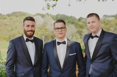 Dapper grooms and groomsmen in blue tuxes! An Elegant Spring Vintage Wedding From Lavara Photography