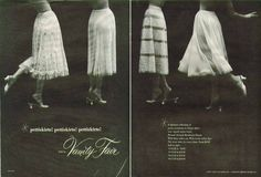 1952 Vanity Fair 2 page print Ad- Pettiskirts! Vintage Bra, Vintage Lingerie, Bullet Bra, Print Ads, Vanity Fair, Night Gown, New Look, Stockings, Slip On