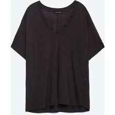 Zara Basic T-Shirt ($20) ❤ liked on Polyvore featuring tops, t-shirts, charcoal, shell tops, zara top e zara t shirts