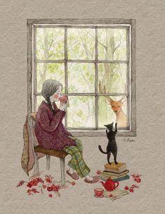 girl & her cat illustration Art And Illustration, Illustration Mignonne, Art Fantaisiste, Art Mignon, Whimsical Art, Oeuvre D'art, Cute Drawings, Cat Art, Illustrators