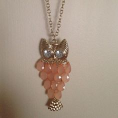 SALE!!! Rue 21 Owl Gold & Peach Necklace Owl Necklace - long, adjustable. Gold & Peach. For sale or trade! Accessories