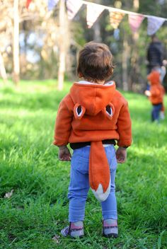 TODDLER HOODIE ZIPPER  Little Mr Fox  Smoked by ThumbelinaWorkshop, $50.00
