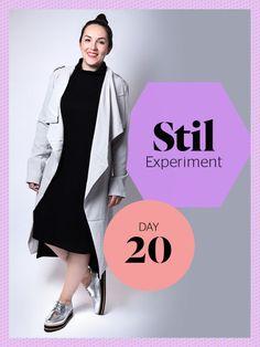 Business-Look trifft gemütliches Sonntags-Outfit: Sweatshirt-Kleid von ADPT, Mantel von Object und Schürer von Louis Norman.