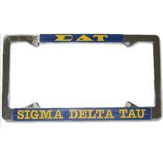 Sigma Delta Tau Sorority License Plate Frame #Greek #Sorority #Accessories #SigmaDeltaTau #SDT #SigDelt