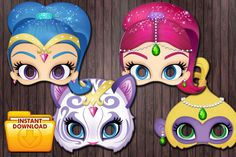 4 Shimmer and Shine printable masks Birthday Party Custom