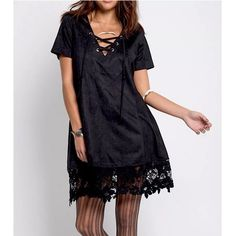 I just discovered this while shopping on Poshmark: LACE UP DRESS Floral Embroider.... Check it out!  Size: OS, listed by sgfashion