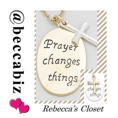 """Prayer changes things necklace Perfect to bundle with clothing or other jewelry.    """"Prayer changes things """" necklace.  There 2 available in gold chain/pendant with silver cross.       You may purchase this listing.      Necklace 17"""" with a 3"""" extension.   10% off bundles of 2 or more.  No Trades. Boutique Jewelry Necklaces"""