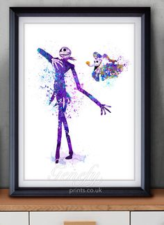 The Nightmare Before Christmas Jack and Sally Watercolor Poster Print - Watercolor Painting - Watercolor Art - Halloween - Thanksgiving by GenefyPrints on Etsy https://www.etsy.com/listing/253222847/the-nightmare-before-christmas-jack-and