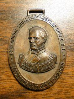 Scarce Civil War GAR 62 ND Encampment Medal Watch Fob - General William Tecumseh Sherman Lancaster Ohio June 17-22 1928 - Great Item! by EagleDen on Etsy