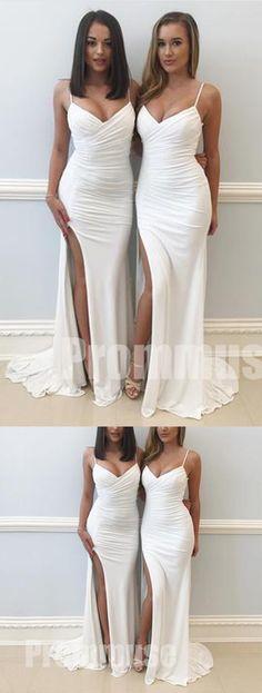 Elegant Sexy Mermaid Side Split Spaghetti Strap Long Bridesmaid Dresses, PM0824