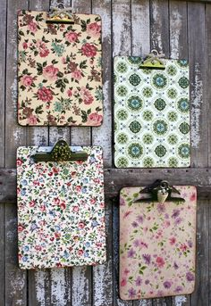 Decorate clipboards using vintage wallpaper, wrapping paper, or scrapbook paper