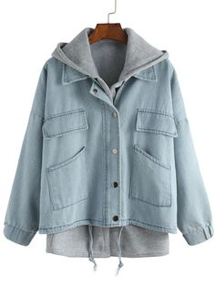 Shop Blue Hooded Drawstring Denim Two Pieces Outerwear online. SheIn offers Blue Hooded Drawstring Denim Two Pieces Outerwear & more to fit your fashionable needs.