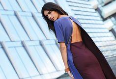 split marron pencil skirt womenswear streetstyle