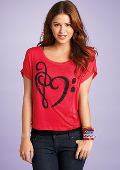 dELiAs > Music Note Heart Tee > graphic tees. Why are there never any alto clefs?  Even though it'd just look like a backwards 3, and viola is the only instrument in existence that uses it, I still think we need one.