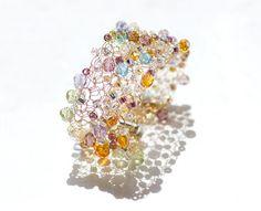 Crystal  Crochet Wire Cuff Lace Fashion Beadwork  by beadedwire
