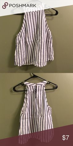 Blouse Grey and white striped blouse Tops Blouses