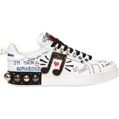 Dolce & Gabbana Women 20mm Portofino Studded Leather Sneakers (€1.085) ❤ liked on Polyvore featuring shoes, sneakers, studded sneakers, velvet heart shoes, glitter sneakers, rubber sole shoes and beaded shoes