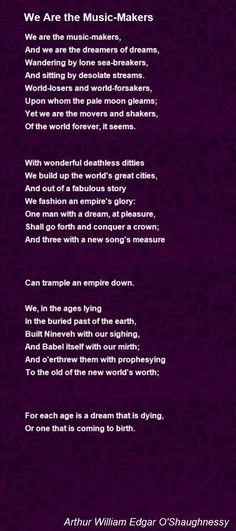 Ode by Arthur William Edgar O'Shaughnessy