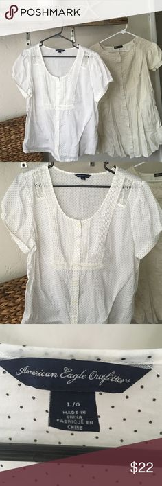 BUNDLE SALE Two cool shirts This set is a white American Eagle shirt with tiny black polka dots and lace on shoulders really cute and an off white Ambitionfly shirt with smocking on the sleeves and is really cute on with jeans or leggings American Eagle Outfitters Tops Blouses
