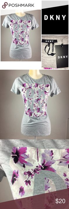 06ed31c7d93911 DKNY Garden Plaid Logo T Shirt Purple Floral Small New with tags $ 39.00  MSRP Size