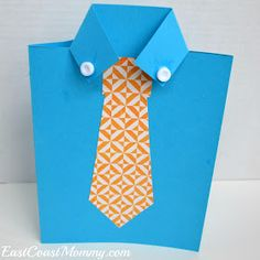 East Coast Mommy: Shirt and Tie Father's Day Card Kids Fathers Day Crafts, Fathers Day Art, Crafts For Kids, Diy Father's Day Crafts, Father's Day Diy, Food Crafts, Card Making Ideas For Beginners, Tie Template, Crafts For Seniors
