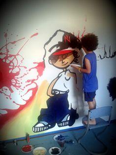 Pokój Filipa: kolorowy, energetyczny mural, przy którym pomagał sam Filip. Murale tworzymy nie tylko dla dzieci ale z dziećmi! To świetna zabawa, okazja do włączenia dziecka w prace nad własnym pokojem. This is mural in Philip's room. Mural is colorful and energetic.Philip helped us at work. We create murals for children but children can work with us!. It's fun, and opportunity to include the child in the work of their own room Calgary, Graffiti, Hand Painted, Disney Princess, Disney Characters, Children, Young Children, Boys, Kids
