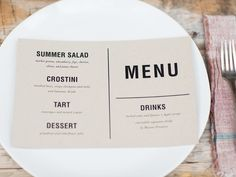 Our pal Jessica Murnane of paper goods line Suitor takes the task of designing the menu off your plate. Just press print to let guests know what treats are in store.Download the menu in your color theme of choice: blue skies, garden green, pretty in pink, or modern black (pictured here).